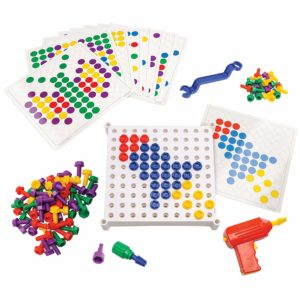 colorful plastic bolts and drill toys