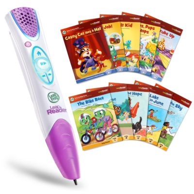 This is an image of a LeapReader Pen with 10 books for kids.