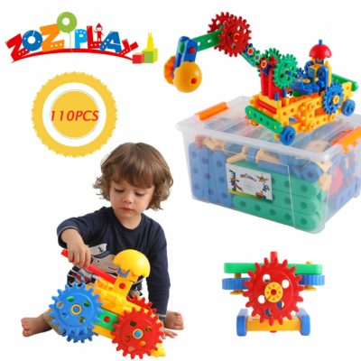 This is an image of a 110 piece gear construction set for kids.