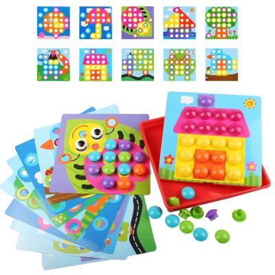 This is an image of a color matching peg board with small colorful pegs designed for kids.