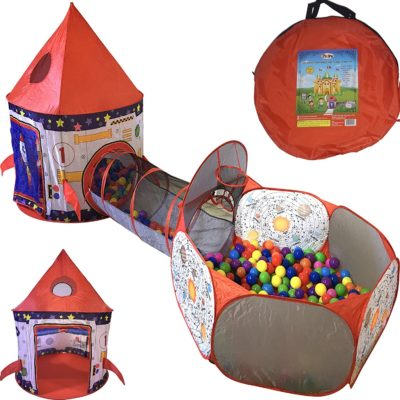This is an image of a 3-piece rocket ship play tent for kids.