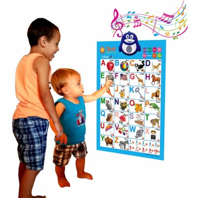 two kids reading from a wall chart
