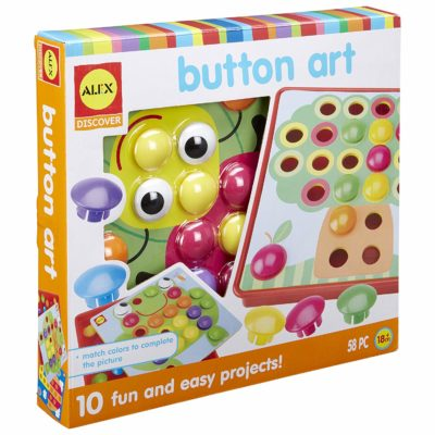 This is an image of a button art activity toy set for kids.