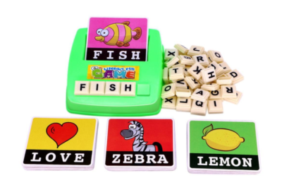 This is an image of an educational spelling card game for kids.