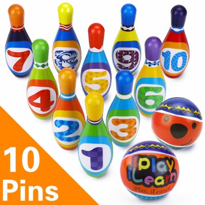 This is an image of a colorful bowling playset for kids.
