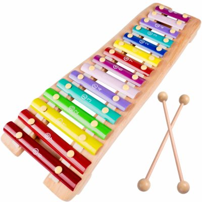 This is an image of a colorful wooden glockenspiel xylophone for kids.