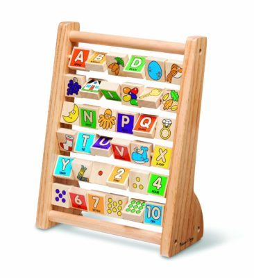 This is an image of a letter and number abacus for kids.