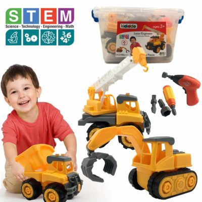 This is an image of a pack of 3 educational vehicle set for kids.