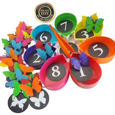 This is an image of a colorful butterfly counting montessori toy for toddlers.