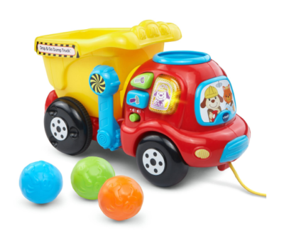 This is an image of a yellow drop and go truck for toddlers.