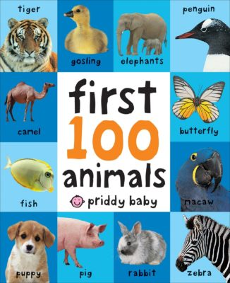 This is an image of a First 100 Animals children's board book.