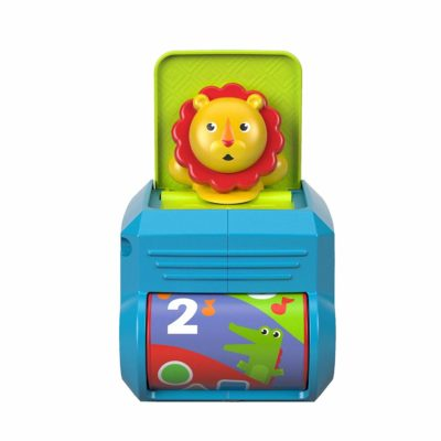 This is an image of a Spin 'n Surprise Lion baby toy.