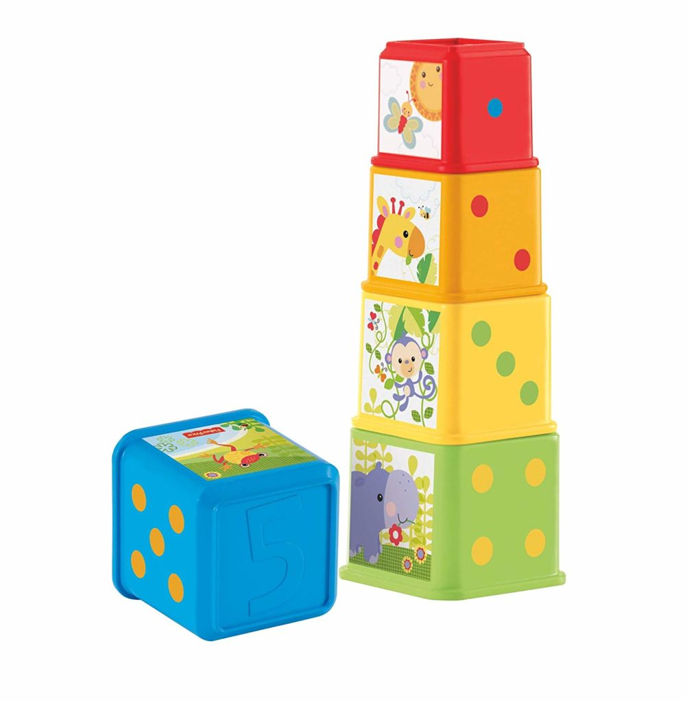 This is an image of a Stack and Explore Blocks by Fisher Price designed for babies.