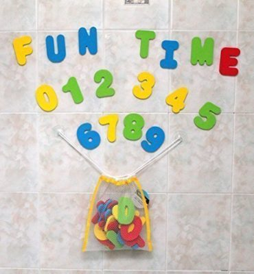 This is an image of a bath foam letters and numbers for kids.