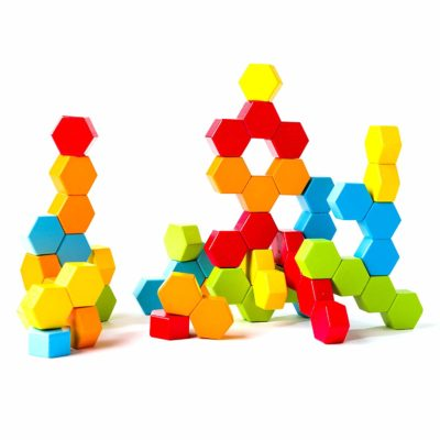 This is an image of a colorful hexagonal building toy for kids.