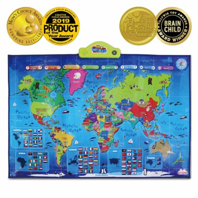 This is an image of an i-post interactive world map for kids.