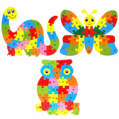This is an image of a wooden jigzaw puzzle for kids.