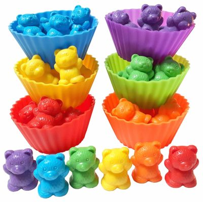 This is an image of a colorful jumbo counting bears with stacking cups for kids.