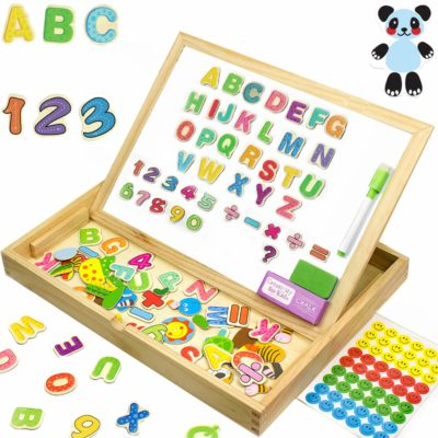 This is an image of an XL letters, numbers and animals magnetic toy set for kids.