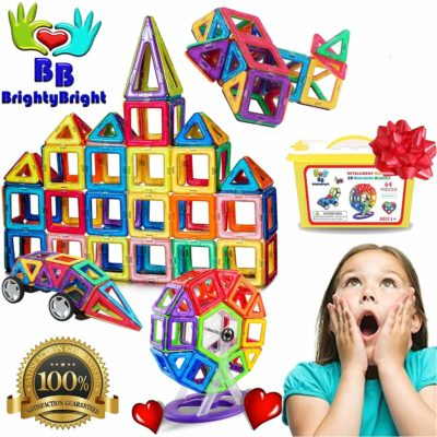This is an image of a 70 piece magnetic tiles building toy set.