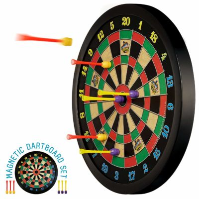 This is an image of a dark magnetic dart board for kids.