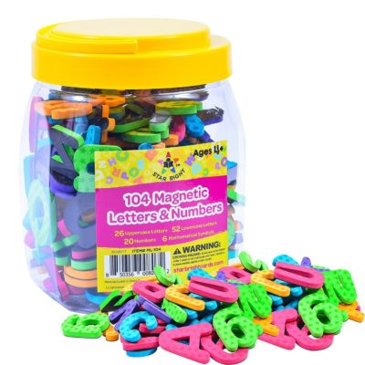 This is an image of a colorful magnetic letters and numbers for kids.