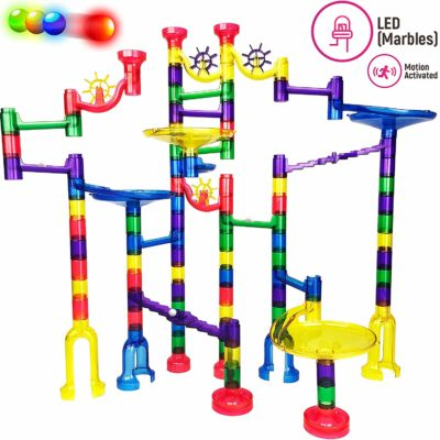 This is an image of a 126 piece marble run building block set for kids.