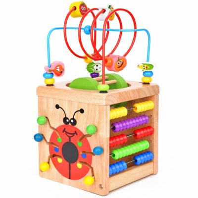 This is an image of a colorful wooden activity cube for kids.