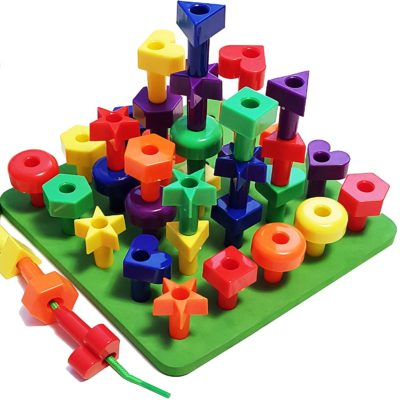 This is an image of an educational peg board stacking toy for kids.