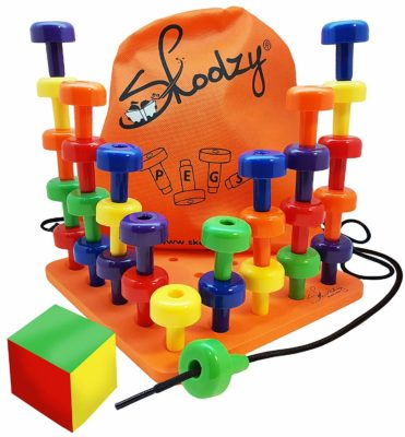 This is an image of a colorful peg board set for kids.