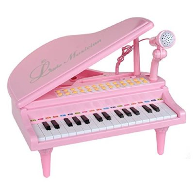 This is an image of a pink piano keyboard toy with microphone for toddlers.