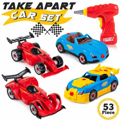 This is an image of a racing car building toy set for kids.