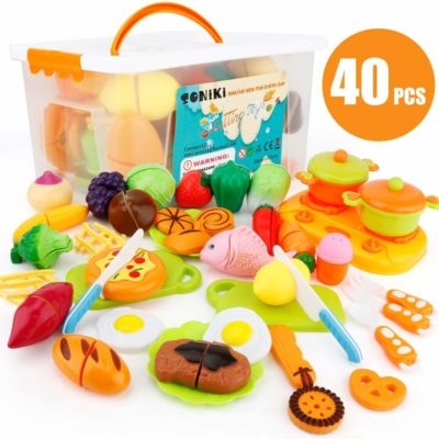 This is an image of a 40 Piece cutting toy playset for kids.