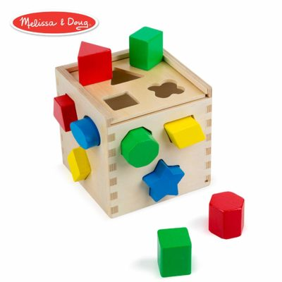 This is an image of a classic wooden activity cube for kids.