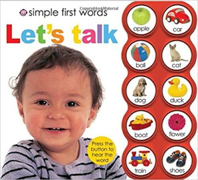 This is an image of a Simple First Words Let's Talk children's board book.