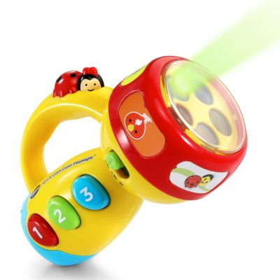 This is an image of a yellow spin and learn color flashlight designed for kids.