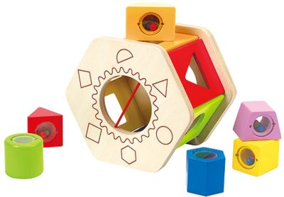 This is an image of a  wooden shape sorter toy for toddlers.