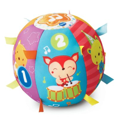 This is an image of a Lil' Critters Roll and Discover Ball by Vtech designed for kids.