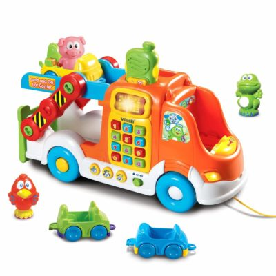 This is an image of a Pull & Learn Car Carrier Toy by Vtech designed for kids.