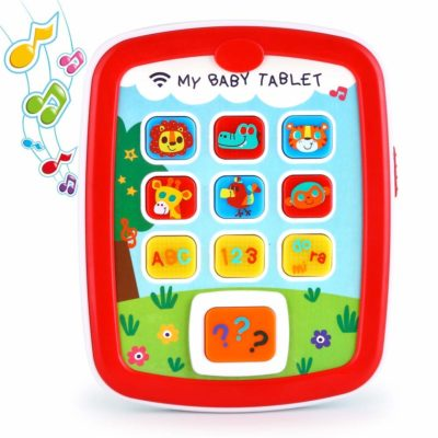 This is an image of a red learning tablet by Vatos designed for kids.