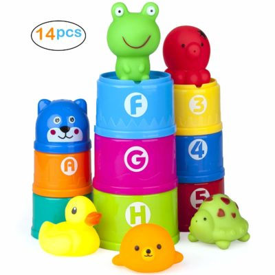 This is an image of a colorful stacking cups bath toys for kids.