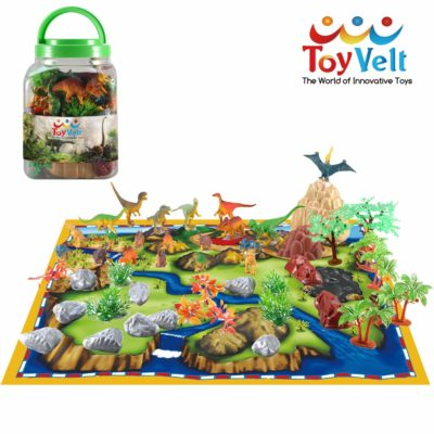 This is an image of a 50 piece walking dinosaur playset for kids.