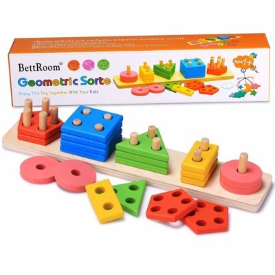 This is an image of a colorful educational wooden geometric board for kids.