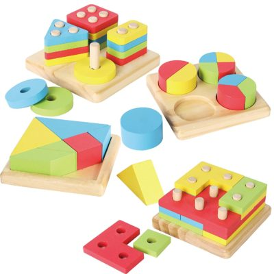 This is an image of a 4in1 wooden educational puzzle toy for kids.