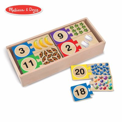 This is an image of an educational wooden number puzzle for kids.