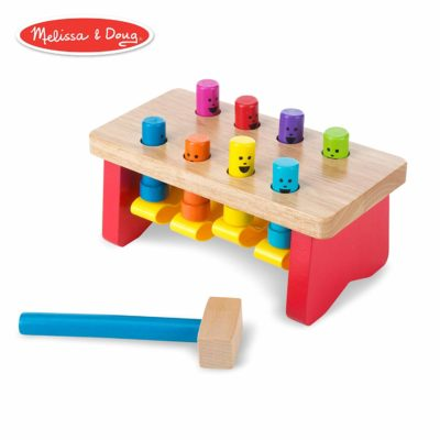 This is an image of a colorful deluxe wooden pounding bench toy with mallet designed for toddlers.