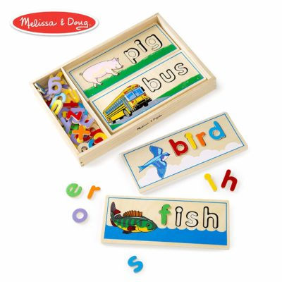 This is an image of a wooden see and spell learning toy for kids.