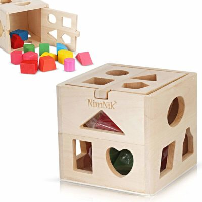 This is an image of a classic wooden shape sorting cube for toddlers.