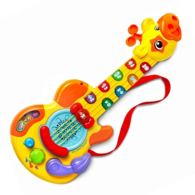 This is an image of a yellow Zoo Jamz guitar for kids.