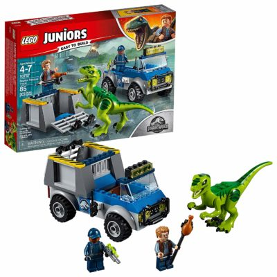 This is an image of a Jurassic World Raptor Rescue Truck Building Set for kids.